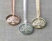 Tree of Life Necklace - Summer Outdoors Hand Stamped Necklace - Silver Gold Rose Gold Necklace - Woodland Jewelry by Burnish