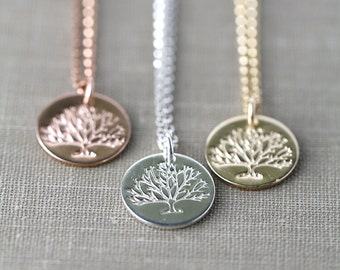 Tree of Life Necklace - Hand Stamped Necklace - Silver Gold Rose Gold Necklace - Woodland Jewelry by Burnish