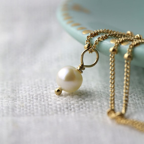 dainty gold filled necklace freshwater pearl necklace by