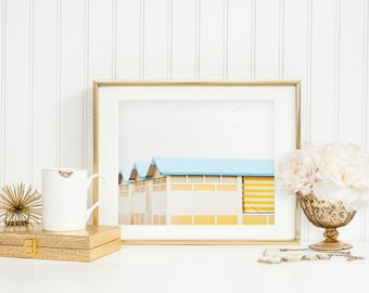Italy Print. Yellow Beach Huts. Fine Art Photography. Lido Beach-Hut. Venice Italy. Mint Teal Rooftops. Yellow Stripes. Spring Decor.