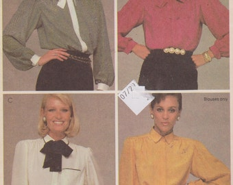 """1980's Sewing Pattern Women's Button Down Blouse with Long Sleeves Front Pocket and Tie Size 14 Bust 36"""" McCall's 8756"""