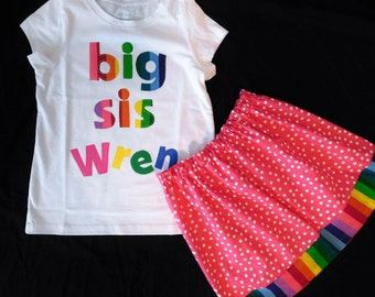 2 piece Rainbow girl, toddler, baby, tween skirt with bright bubble gum yellow green blue orange colors, Big Sis and name applique NB -16