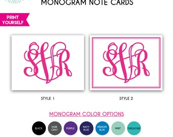 Large Monogram Note Cards - PRINTABLE