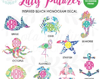 "Lilly Pulitzer Inspired Beach Monogram Vinyl Decal 2""-6"""