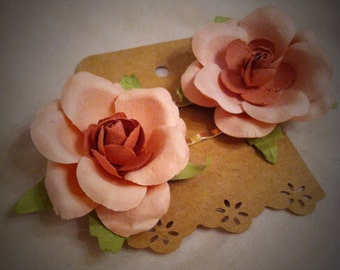 Clearance Sale Paper Flower Hair Pins Just Peachy Set of Two