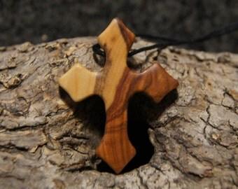 Olive wood cross, gothic cross