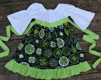 Girl's Toddlers Black and Green Shamrocks Ruffle Peasant Dress