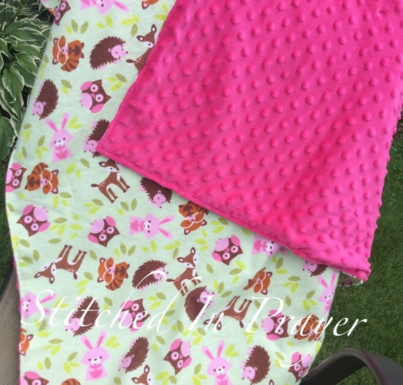 Extra Large Baby Girl Receiving Blanket, Swaddle Blanket, Minky Blanket, Reversible, Flannel, Double Layer Blanket, Owl, Pink, Forest Friend