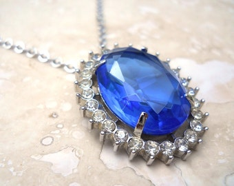 Vintage Blue Sapphire Princess Necklace / Brooch
