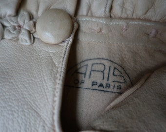 Vintage French leather Gloves Aris of Paris 7 1/4 Pale Pink with Petal detail