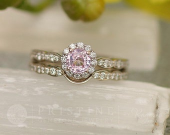 Whisper Pink Sapphire Engagement Ring in 14k White Gold Flower Design Engagement Ring Weddings Anniversary