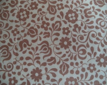 """Brown and cream flowers and leaves fabric/ vintage floral print fabric/ lightweight cotton fabric sold by the yard/ 45"""" wide"""