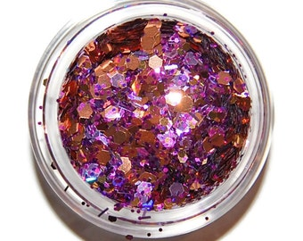 Date Night Purple and Gold  Sparkle Mix, Solvent Resistant Glitter Mix: 5 GRAM JAR. Raw Nail Glitter Mix for Nail Polish and Nail Art
