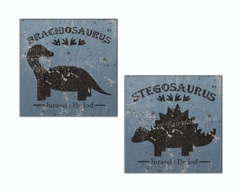 Dinosaurs Jurassic Blue Weathered Canvas Wall Art Prints