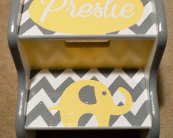 Chevron Elephant Name Step Stool