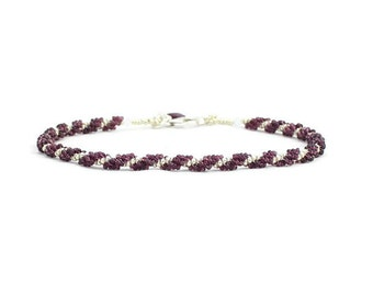 Seed Bead Anklet - Rope Ankle Bracelet - Beadwork Jewelry - Purple Summer Anklet - Beaded Beach Vacation Jewelry - Ankle Chain