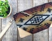 Made to Order // Traveler Wallet Wristlet // Pendleton Tribal Buckskin Leather // Rosebud Originals