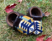 Scout Baby Moccasin 6-12 month // Tribal Pendleton Wool Brown Leather // Rosebud Originals