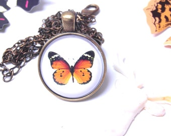 Orange Butterfly necklace Cameo pendant necklace Nature Insect Animal Necklace
