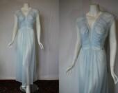 1950s Munsingwear Sheer Blue Nightgown, 40, Large, XLarge