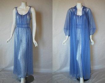 1950s Carters Sheer Periwinkle Purple Peignoir Set, 36, 38, Medium, Large, Nightgown Robe, Gold Stars