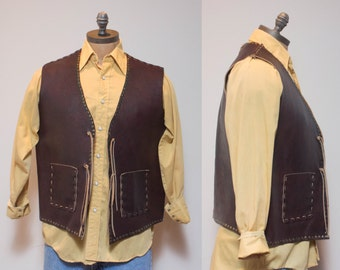 XL   Men's Textured Brown Leather Studded Vest