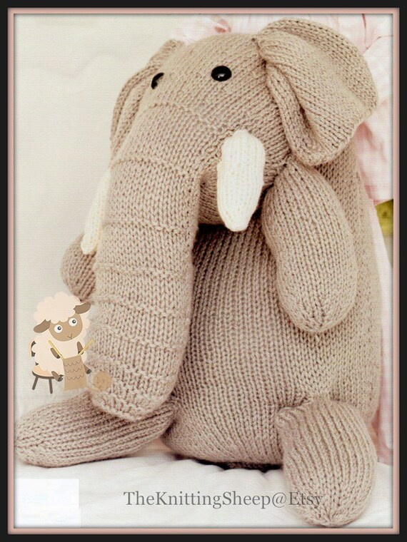 Easy Elephant Knitting Pattern : PDF Knitting Pattern for Giant Elephant Toy Instant Download