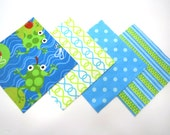 """48 Cotton Flannel 6""""x6"""" Quilt Squares in a Bundle of Fun Frogs and Matching Bright Prints"""