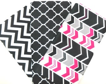 3 Pack of Flannel Fabric Fat Quarters in a Bundle of Pink, Grey, Black and White Arrows, Trellis and Chevron Prints