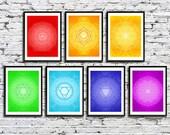Yoga Studio Chakra Wall Decor Healing Meditation Art in Rainbow Colors