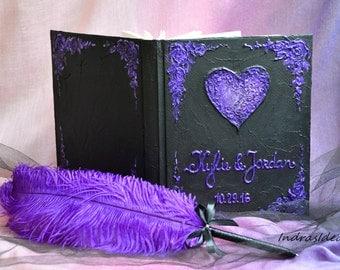 Black purple Wedding Guest book,  Black Guest book, Purple black guest book, Personalized Guest book, Halloween Guest Book, Goth Wedding
