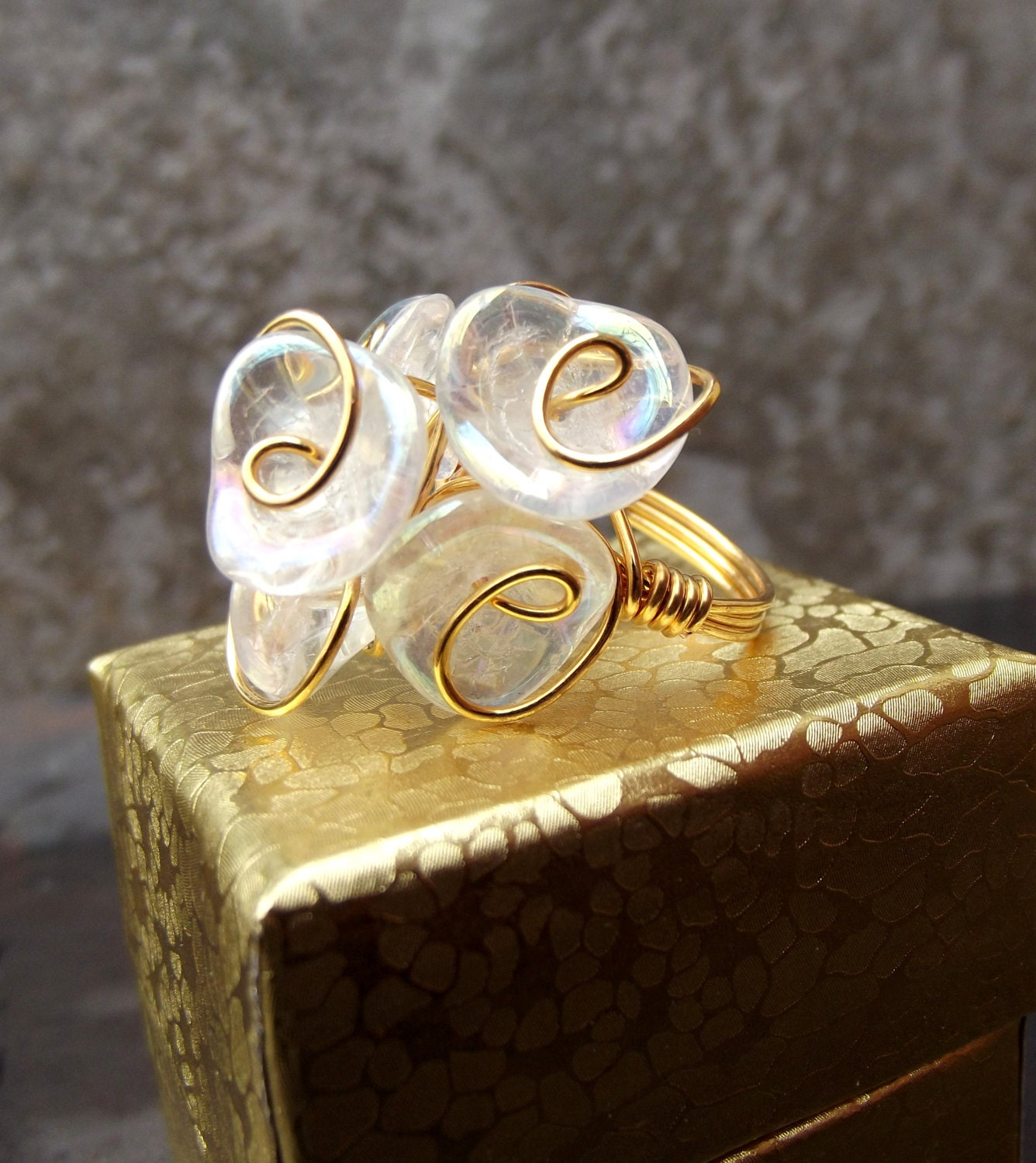 Flower Bouquet Ring Floral Wedding Ring Gold Wire