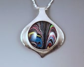 Fordite- Harley Davidson Material- Multi Colored Swirly- Michigan Made- Sterling Silver Pendant