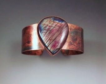 Red Rainbow Labradorite- Rainbow Patina- Copper Cuff Bracelet