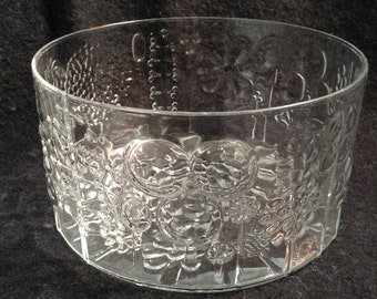 Flora by Iittala Vintage Glass Bowl.  Oiva Toikka.   Made in Finland.  Raised Clear Glass.  Danish Modern.  Mid century modern, Eames era.