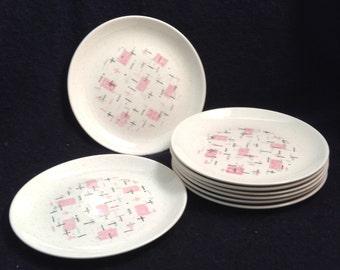 8 Vernon Ware Tickled Pink Salad Plates. Vernon Kilns.  Metlox, Poppytrail.  Mid century modern, Danish Modern, Eames era. Deco 1950's.