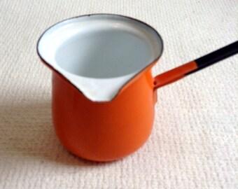 Vintage Orange Enamel handled Pot.  Turkish Coffee or butter melting.  Mid century modern, Eames era. Made in Poland.  1970s.