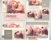 Birth Announcement Templates: Little Heart Collection - Four 5x7 Card Templates for Baby Girl