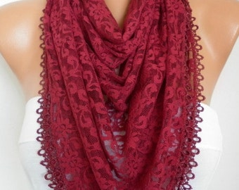 Burgundy Lace Scarf,Summer Shawl, Night Scarf, Women Scarves Cowl,Birthday, Bridesmaid Gift Gift Ideas For Her Women Fashion Accessories