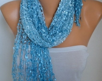 Blue Knitted Ombre Scarf,Wedding Shawl,Bridal Accessories,Bridesmaid Gift,Cowl,formal date night,Gift For Her,mom, Women Fashion Accessories