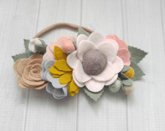 Baby Headband-Wildflower Felt Flower Bouquet Headband in Blush, Mustard,Grey-Headband-Baby Girl Headband-Baby Headbands-Newborn Headband