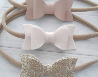 Set of 3 Mini Chunky Glitter, Wool Felt and Faux Leather Bow Headbands- Nude, Off-White and Champagne - Nylon Headbands