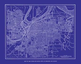 Kansas City Map - Street Map  - Vintage - Print Poster - Blueprint