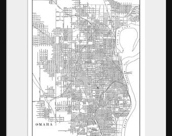 Omaha Map - Street Map Vintage Poster Print