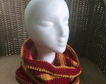 Cozy Cowl in Red and Gold Acrylic -- for Yoga, Spiritwear, and Activewear - Gryffindor Harry Potter