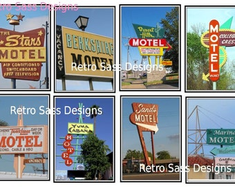 RETRO route 66 style MOTEL tags digital delivery collage sheet print over and over 1.5x3