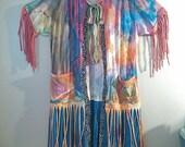CUSTOM Reserved  Gypsy Sandra Art Jacket Hand Painted Hippie bOHO cHIC Duster Bohemian Funky