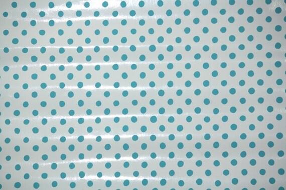 Retro Wallpaper by the Yard 70s Vintage Vinyl Wallpaper - 1970s Aqua Polka Dot on White JudScott Hand-Printed Wallpaper
