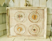 Vintage framed glass plates rhinestone jewelry embellished Cottage Shabby Chic wall decor