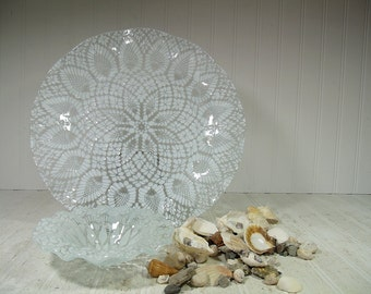 Vintage White on Crystal Clear Sydenstricker Glass Very Large Plate & Matching Bowl - Hand Crafted on Cape Cod Ocean Wave Textured Glass Set